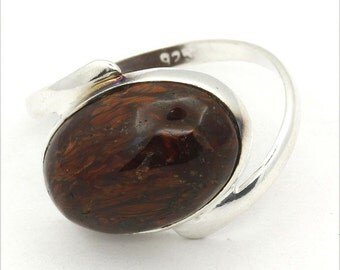 Splendid! New Brown Pietersite 925 Sterling Silver Ring Fashion Jewelry S-7.5 A1449