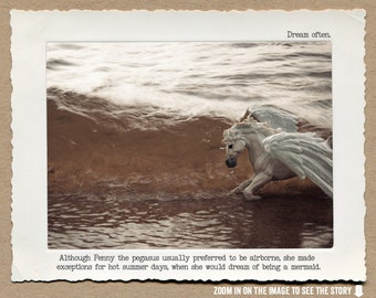 8x10 Pegasus Motivational Art Print • Humorous Print • Animal Tales Fable Print•  Gifts for Her Under 20 • Inspirational Home Decor