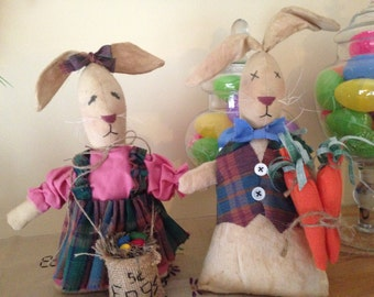 Primitive Easter Bunnies, Petie and Beatrice, Handmade Easter Dolls