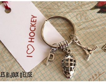 Sale - Personalized Hockey Keychain Antique Silver