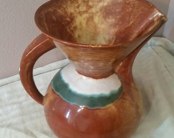 On Sale California Pottery Brown and Aqua Blue Water Pitcher or Flower Vase