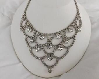Fabulous Vintage  Weiss Signed White Rhinestone Bib Necklace-On Sale Now!