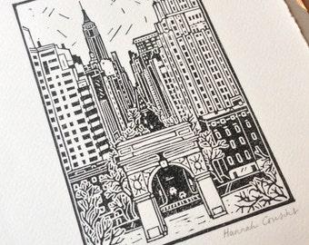 Washington Square Park, NYC Original Linocut Print