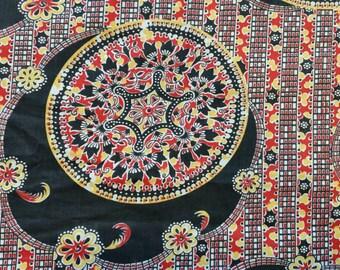 Vibrant Vintage Cotton Fabric ~ Red Yellow Black ~ Mosaic