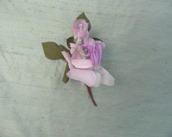 Lavender ombre silk rose flower stem / vintage millinery hat flower trim spray / purple rose