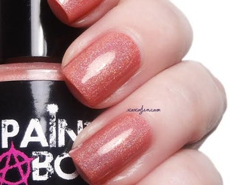Simbu Sunset  - coral peach holographic nail polish by Painted Sabotage