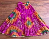 Maxi Length Indian Hippie Gypsy Bollywood Dancers Tie Dye Skirt, Size Small// AS IS