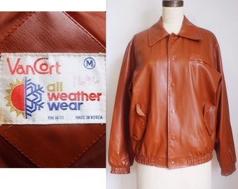1970s Mens Faux Leather Bomber