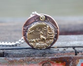 Sterling Antique Deer Button Necklace. Navajo Stamp . Antique Button . Rustic . Earthy . Boho .