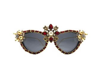 Red and Gold Baroque Style Cat-eye Sunglasses - ROSETTA