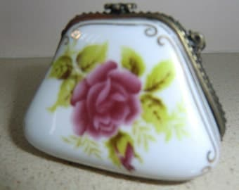 Vintage porcelain trinket box handpainted