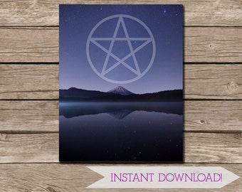Pentacle and Mountain Purple Night Sky Photographic Art Wall Print - 11x14 inch - INSTANT DIGITAL DOWNLOAD - Wiccan Art - Pagan Print