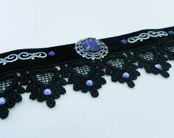 Gothic Black VELVET and lace choker with DEEP PURPLE swarovski crystal and silver filigree - goth - victorian - burlesque - steampunk