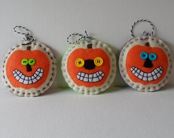 Handmade Halloween Ornaments Set of 3 Awesome Jack O Lanterns