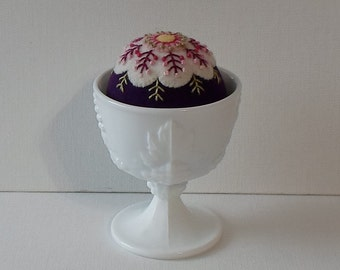 Handmade Felted Wool Pincushion in a Milk Glass Pedestal Dish