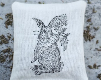 lavender sachet,hand printed sachet,rabbit stamped, fragrant home decor, lovely unique gift