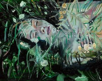 Glow - Giclee Art Print, Figurative Art, Large Wall Art, Floral Art