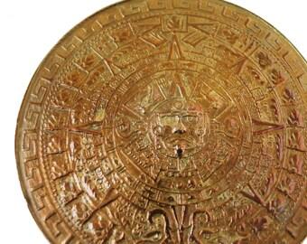 Aztec Calendar Vintage Taxco Silver Medallion Pendant Brooch Metales Casados Married Metal Mexican Silver Pendant Sterling Silver Brooch