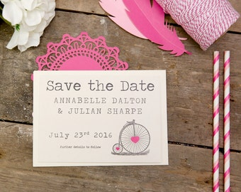 Vintage Bicycle Save The Date Postcards (Pink) with Envelopes - Set of 25