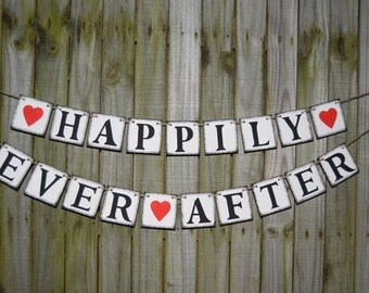 Banner HAPPILY EVER AFTER  Banners Rustic Banner  Wedding Banner - Engagement Party Decoration - Photo Prop