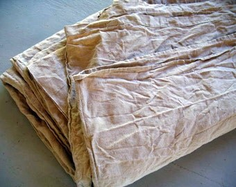 """Perfect, antique French linen sheet, unbleached, bedcover, curtain or table cloth. Monogram EI 106"""" x 80"""""""