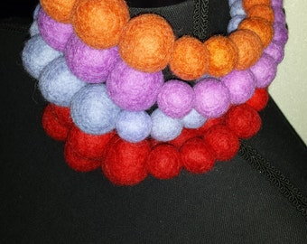 Necklace Bold -  statement necklace with  large felt beads