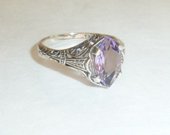 Amethyst Sterlilng Silver Filigree Ring Art Deco Victorian Style Engagement Ring February Birthstone Size 4.5 Marquise Gemstone