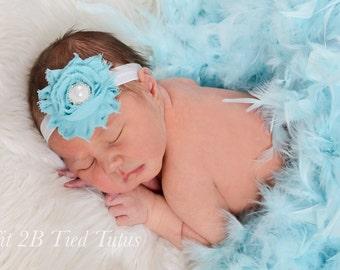 Newborn headband, Blue flower headband, baby headband