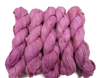 SALE New! Recycled Sari Silk Ribbon, Orchidé