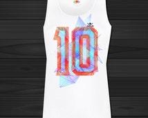Women Sports Gym Vest Tank Gym Top  GRAPHIC PRINT  Sports  geometric number 10. Lady-fit performance vest.