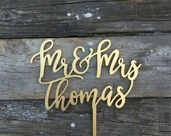 """Mr and Mrs Last Name Cake Topper 6"""" inches 