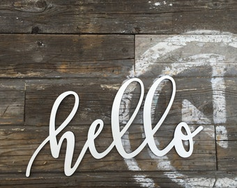 """Hello wood laser cut sign 13"""" inch, office welcome entry way mud room baby room home wall decor hi greeting decoration wall art"""