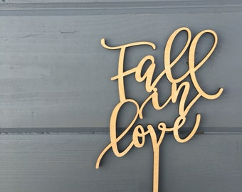 "Fall in Love Wedding Cake Topper 5"" inches, Event Anniversary Honeymoon Autumn Script Unique Laser Cut Toppers by Ngo Creations"