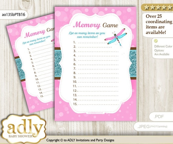 memory game for baby shower printable card for baby dragonfly shower