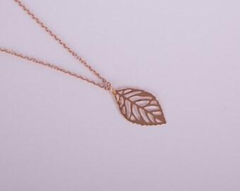 Rose Gold Plated Necklace Leaf Rose Golden Leaves Filigree Fine Rosegolden Leaves