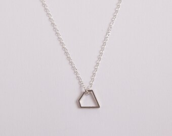 Silver Necklace  Minimal Necklace Diamond Triangle Silver Plated