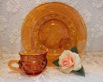 4 Table Settings, Kings Thumbprint , Amber Glass Plate and Cup Set, 1950s Glassware, Plates, Cups, Colored Glass Plates,