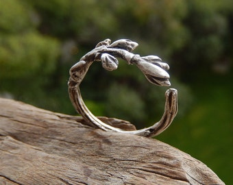 Adjustable Handmade Branch Ring - Organic Jewelry - Sterling Silver Nature Inspired Ring - Botanical Woodland Jewelry - Rings For Women