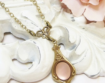 Rosaline Necklace Pendant Pink Peach Bridal Wedding Downton Abbey Victorian