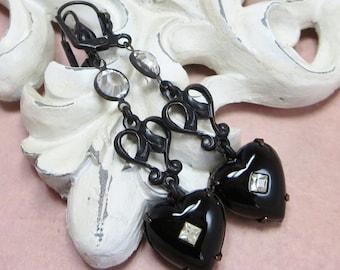Black Heart Earrings Ear Dangles Vintage Swarovski Crystals Victorian Gothic Downton Abbey