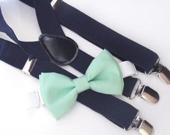 Mint green bow-tie & Navy elastic suspender set