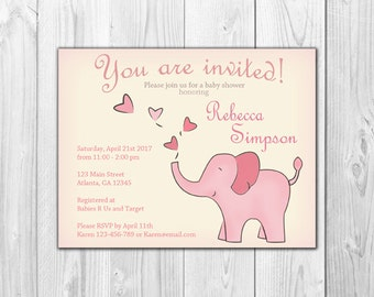 Pink and Cream Elephant | Baby Girl Shower Invitation (8 Invitations and 8 Envelopes)
