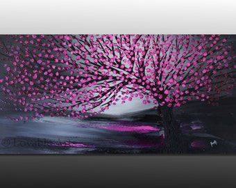 "ORIGINAL Magenta Tree Landscape Abstract Painting 48""  large red black Modern art pink petals Contemporary Palette Knife textured fine art"