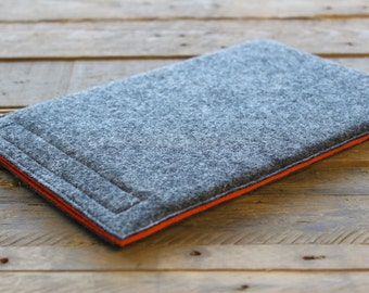 iPad Sleeve / iPad Case / iPad Cover - Mottled Dark Grey and Choice of Inner Colours - 100% Wool Felt