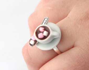 Hot cocoa ring with marshmallow, Hot chocolate milk ring, miniature food jewelry