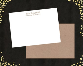 Custom Correspondence Masculine Personalized Note Cards Thank You Notes Man Men with Blank Envelopes
