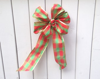 Christmas bow Red Green Plaid wreath wedding gift package bows holiday entertaining