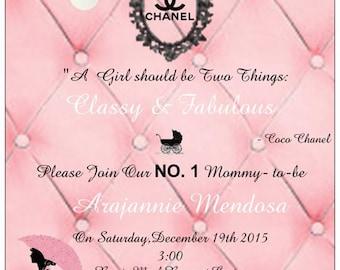Chanel Inspired Baby Shower Invitations,Chanel Baby Shower,Pink Baby Shower Invitations,CoCo Chanel Invitations,Pink,Baby Girl