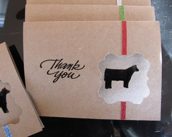 Glittered Show Steer Thank You cards Pack of 4 with envelopes