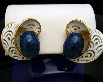 Crown Trifari Vintage Earrings 1960s Blue Lucite Cabochon White Enamel Openwork